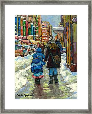 Family Stroll Beautiful Winter Day Downtown Canadian Snowscene Paintings Best Montreal Art For Sale Framed Print by Carole Spandau