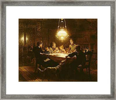 Family Supper In The Lamp Light, 19th Century Framed Print by Knut Ekvall