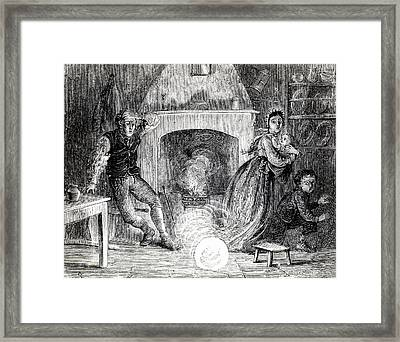 Family Terrified By Fireball Or Meteorite Framed Print by Universal History Archive/uig