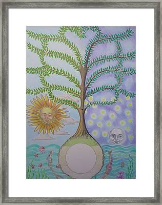 Family Tree Chart Sun Moon And Stars Framed Print by Alix Mordant