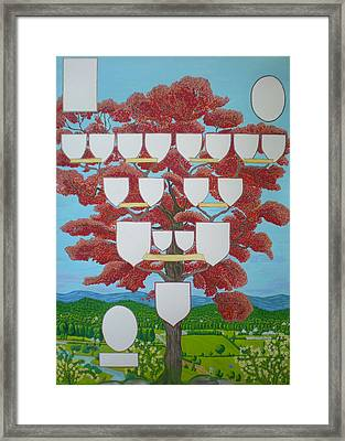 Family Tree Ruby-red Framed Print by Alix Mordant