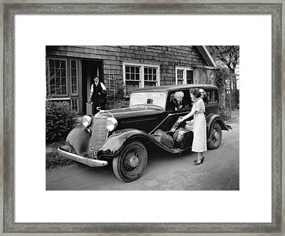 Family Vacation In A Desoto Framed Print by Underwood Archives