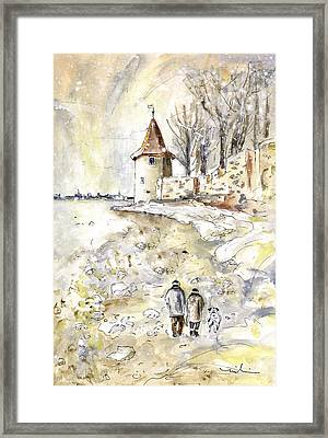 Family Walk In Lindau Framed Print by Miki De Goodaboom