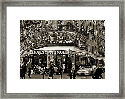 Famous Cafe De Flore - Paris Framed Print by Carlos Alkmin