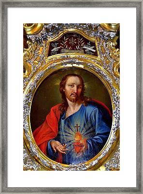 Famous Herz-jesu-bild In Jesuitenkirche In Innsbruck Framed Print