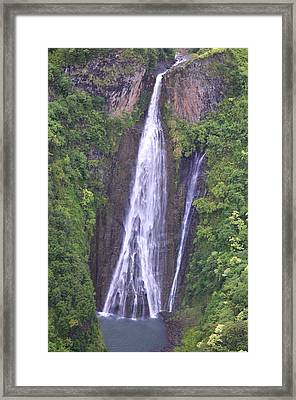 Famous Jurassic Park Waterfall Aerial Framed Print by Kai Hyde