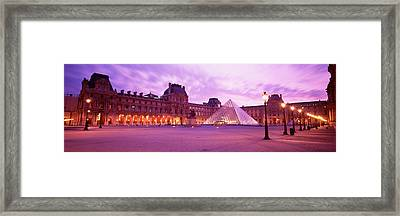 Famous Museum, Sunset, Lit Up At Night Framed Print