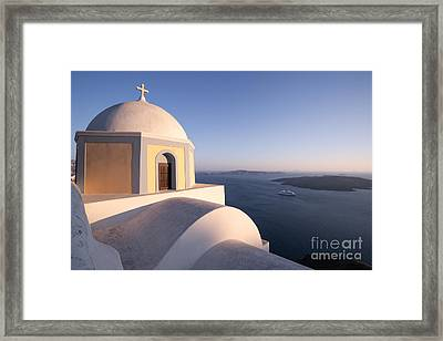 Famous Orthodox Church In Santorini Greece At Sunset Framed Print by Matteo Colombo