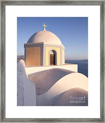 Famous Orthodox Church In Santorini Greece Framed Print by Matteo Colombo
