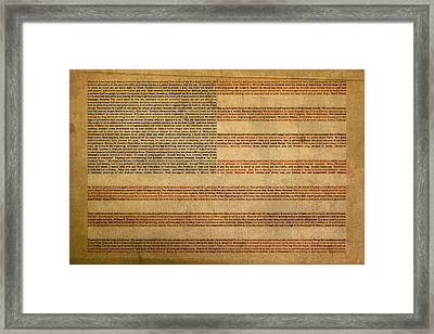 Famous Patriotic Quotes American Flag Word Art Framed Print