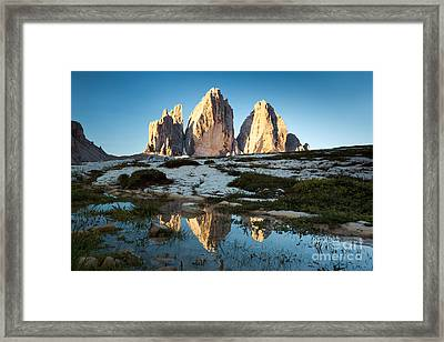 Famous Three Peaks At Sunrise Dolomites Italy Framed Print by Matteo Colombo