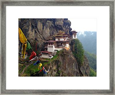 Famous Tigers Nest Monastery Of Bhutan 10 Framed Print