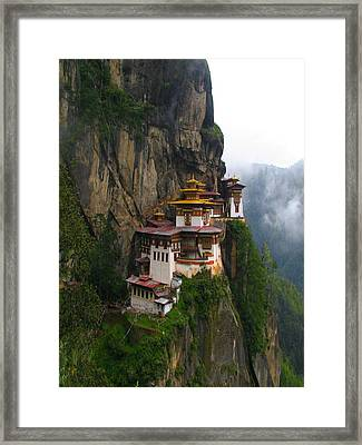Famous Tigers Nest Monastery Of Bhutan Framed Print