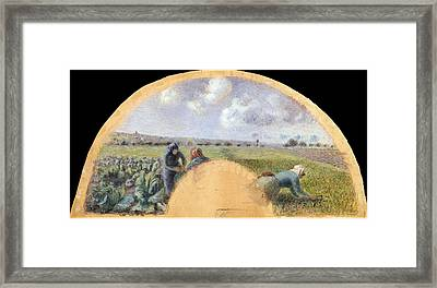 Fan Mount The Cabbage Gatherers Framed Print by Camille Pissarro