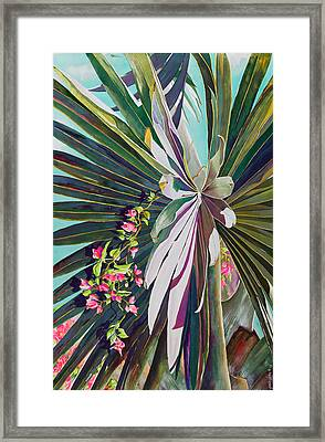 Fan Palm And Bougainvillea Framed Print by Janis Grau