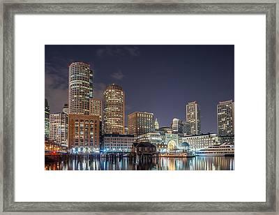 Fan Pier Boston Ma On A Hot July Night Framed Print