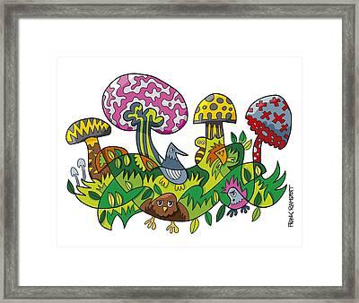 Fanciful Mushroom Nature Doodle Framed Print by Frank Ramspott