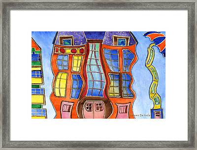 Fanciful Wavy House Painting Framed Print