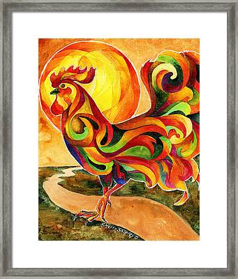Fancy Feathers Rooster Framed Print
