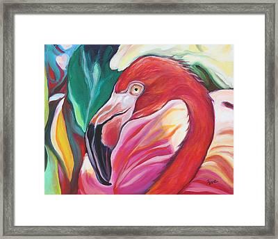 Fancy Flamingo Framed Print by Eve  Wheeler