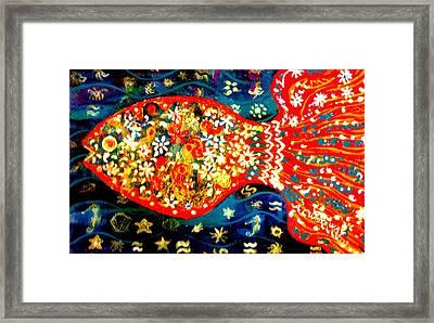 Fancy Happy  Gaga Fish Framed Print by Anne-Elizabeth Whiteway