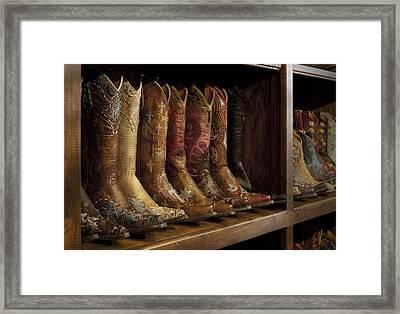 Fancy Western Wear Boots Framed Print by David and Carol Kelly