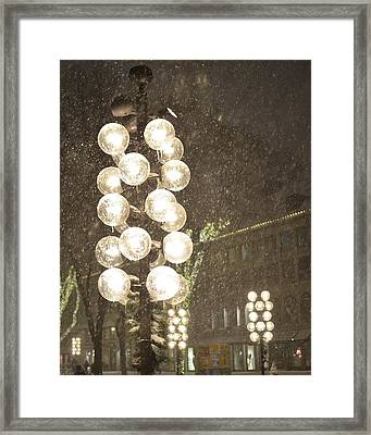 Faneuil Hall Lollypop Lights During A Snow Storm Framed Print by Toby McGuire
