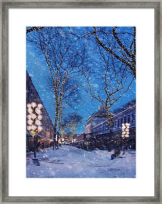 Faneuil Hall Winter Snow - Boston Framed Print by Joann Vitali