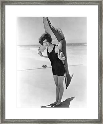 Fanny Brice And Beach Toy Framed Print by Underwood Archives
