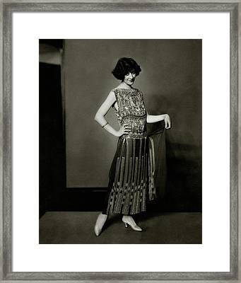 Fanny Brice Wearing A Dress Framed Print by Edward Steichen