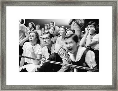 Fans Reacting To Elvis Presley Performing 1956 Framed Print by The Harrington Collection