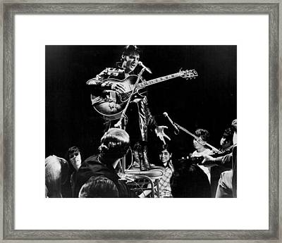 Fans Surround Elvis Presley Framed Print by Retro Images Archive