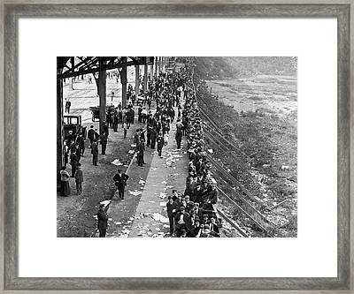 Fans Wait For Series Tickets. Framed Print