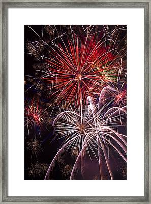 Fantastic Fireworks Framed Print by Garry Gay