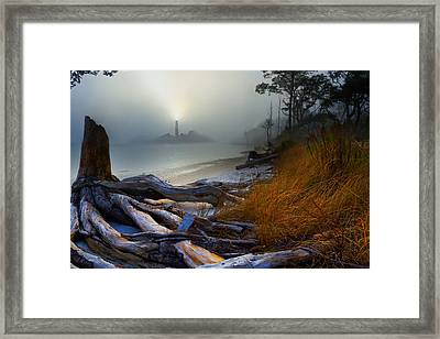 Fantasy Art-sea Fog Island Lighthouse Night-twisted Roots Framed Print by Eszra Tanner