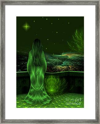 Fantasy Art - Wishing Upon A Star In A Green Night  By Rgiada  Framed Print