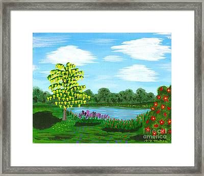 Fantasy Backyard Framed Print by Vicki Maheu