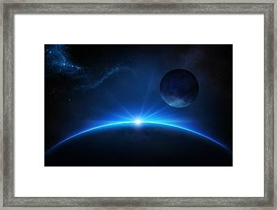 Fantasy Earth And Moon With Sunrise Framed Print