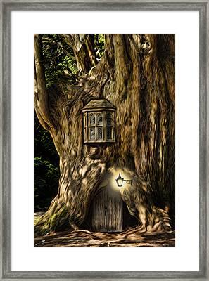 Fantasy Fairytale Tree House Digital Painting Framed Print