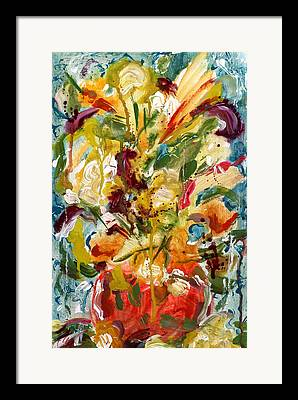 Red Vase And Flowers. Splatters Drips And Splashes Framed Prints