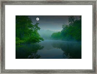 Fantasy Moon Over Misty Lake Framed Print