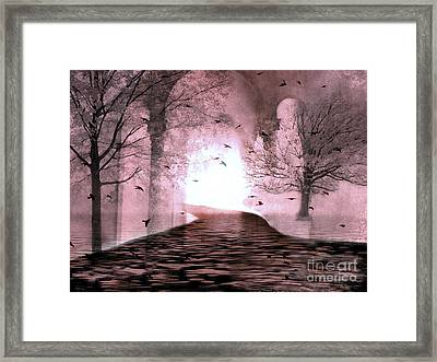 Fantasy Nature Trees - Haunting Surreal Path Trees And Birds Framed Print