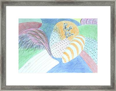 Framed Print featuring the drawing Fantasy Of Egg And Cactus by Esther Newman-Cohen