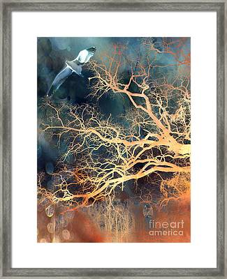 Seagull Gothic Fantasy Surreal Trees And Seagull Flying Framed Print by Kathy Fornal