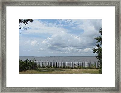Framed Print featuring the photograph Far Away Bridge by Cathy Lindsey