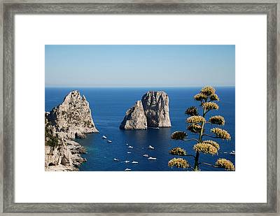 Framed Print featuring the photograph Faraglioni In Capri by Dany Lison