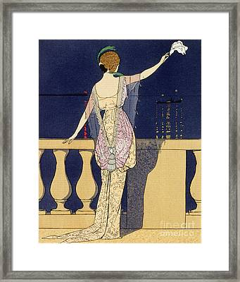 Farewell At Night Framed Print by Georges Barbier