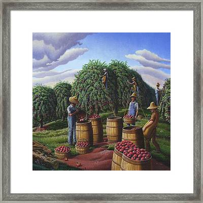 Farm Americana - Autumn Apple Harvest Country Landscape - Square Format Framed Print