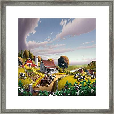 Farm Americana - Farm Decor - Appalachian Blackberry Patch - Square Format - Folk Art Framed Print