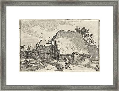 Farm And Man With Two Buckets Framed Print